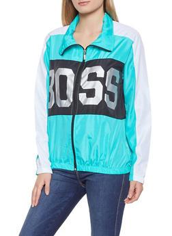 Boss Graphic Color Block Windbreaker - TURQUOISE - 1086038342790