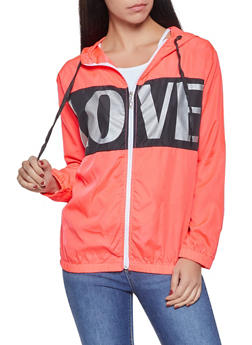 Love Graphic Color Block Windbreaker Jacket - 1086038342791