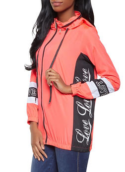 Love Graphic Hooded Windbreaker - CORAL - 1086038342792