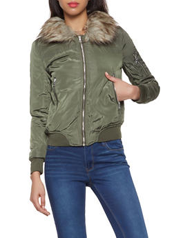 Faux Fur Collar Bomber Jacket - 1086051061420
