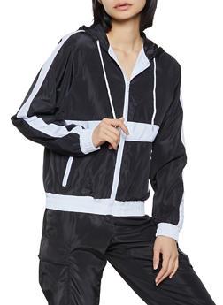 Contrast Trim Hooded Windbreaker Jacket - 1086051061940