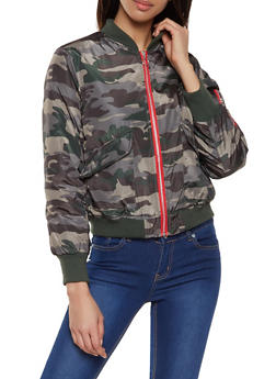 Camo Contrast Zip Bomber Jacket - 1086051065871