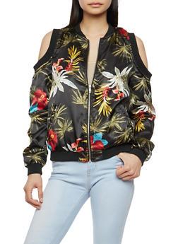 Floral Satin Cold Shoulder Bomber Jacket - PRINT0468 - 1086051066295