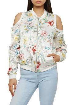 Floral Satin Cold Shoulder Bomber Jacket - PRINT0486 - 1086051066295
