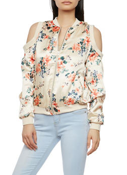 Floral Satin Cold Shoulder Bomber Jacket - 1086051066295