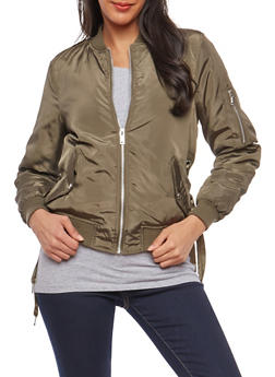 Lace Up Grommet Bomber Jacket - 1086051066369