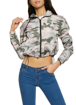 Queen Tape Camo Cropped Windbreaker - 1086051066467