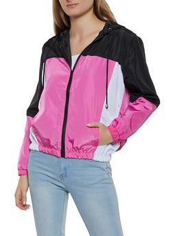 Color Block Hooded Zip Windbreaker - 1086051067133