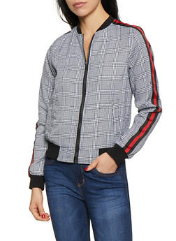 Striped Tape Plaid Bomber Jacket - 1086051067184