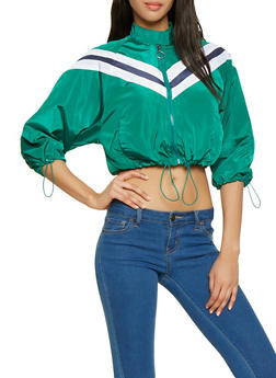 Chevron Drawstring Cropped Windbreaker - 1086051067193