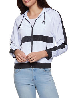 Contrast Stripe Windbreaker Jacket - 1086051067194