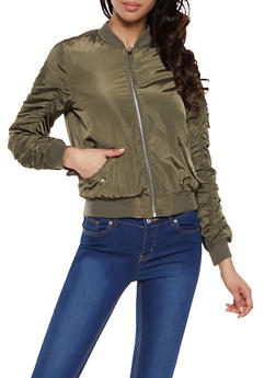 Ruched Sleeve Bomber Jacket - 1086051067232