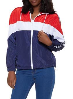 Color Block Hooded Zip Windbreaker Jacket - 1086051067316