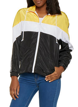 Color Block Hooded Zip Windbreaker Jacket - 1086051067316