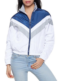 Chevron Color Block Windbreaker - 1086051067317