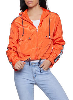 Love Tape Hooded Windbreaker Jacket - 1086051067373