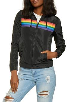 Rainbow Stripe Detail Windbreaker Jacket - 1086051067523