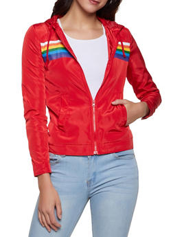 Rainbow Stripe Detail Windbreaker Jacket - 1086051067523