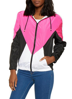Color Block Zip Windbreaker - 1086051067544