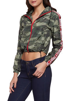 Camo Queen Graphic Cropped Windbreaker - 1086051067646