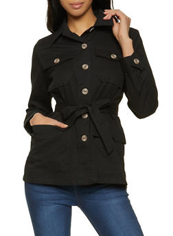 Belted Button Front Jacket - 1086051067883