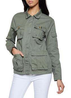Lightweight Twill Button Front Jacket - 1086051067909