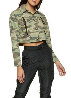 Buckled Pocket Twill Jacket - GREEN - 1086051067913