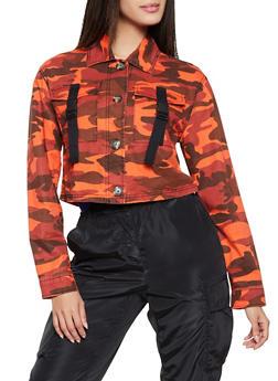 Buckled Pocket Twill Jacket - ORANGE - 1086051067913