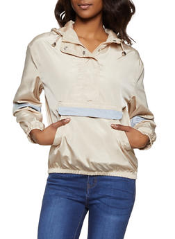 Reflective Tape Hooded Windbreaker Jacket - 1086051067915