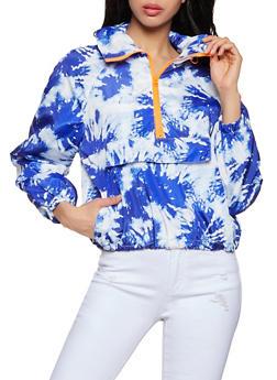 Half Zip Printed Windbreaker Jacket - NAVY - 1086051067955