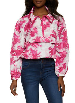 Half Zip Printed Windbreaker Jacket - FUCHSIA - 1086051067955