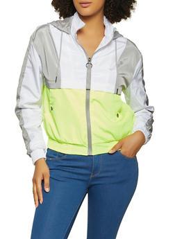 Color Block Zip Front Windbreaker Jacket - 1086051067958