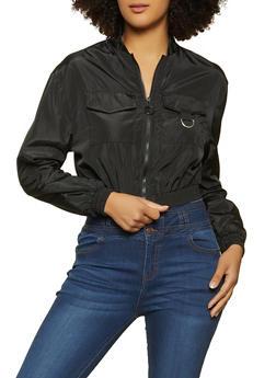 Zip Up Cropped Windbreaker Jacket - 1086051067971