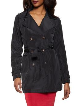 Tie Waist Trench Coat - 1086051068015