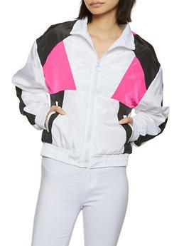 Color Block Windbreaker Zip Jacket - 1086051068088