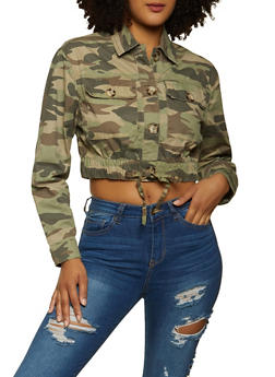 Cropped Twill Jacket - GREEN - 1086051068104