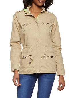 Contrast Lining Twill Anorak Jacket - 1086051068128