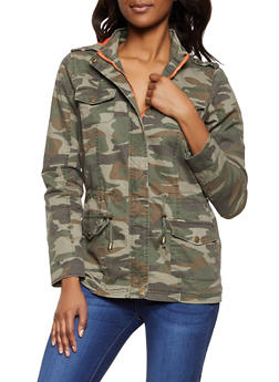 Contrast Lining Twill Anorak Jacket - MULTI COLOR - 1086051068128