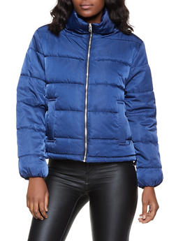Drawstring Waist Puffer Coat - 1086054260566