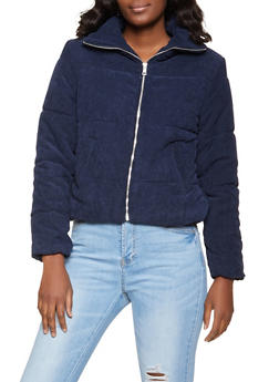 Solid Corduroy Puffer Jacket - 1086054261516