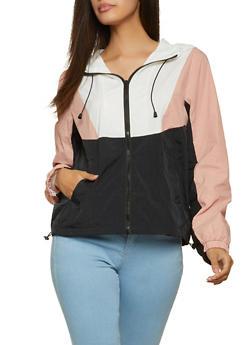 Color Block Hooded Windbreaker Jacket - 1086054262423