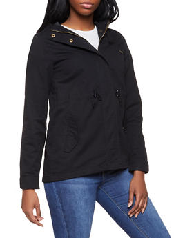 Hooded Twill Anorak Jacket - BLACK - 1086054265430