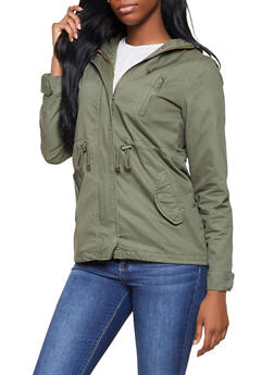 Hooded Twill Anorak Jacket - 1086054265430