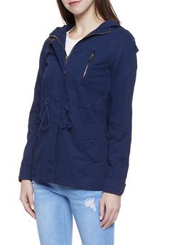 Hooded Twill Anorak Jacket - NAVY - 1086054265430
