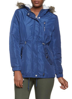 Sherpa Lined Drawstring Anorak Jacket - 1086054268722