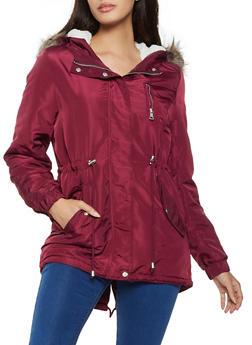 Sherpa Lined Drawstring Anorak Jacket - 1086054268722