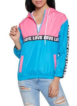 Color Block Love Tape Pullover Windbreaker - 1086063401747