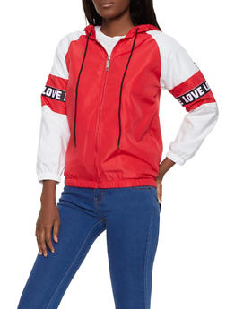 Color Block Graphic Tape Windbreaker - 1086063401764