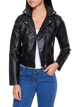 Quilted Faux Leather Moto Jacket - 1087051060530