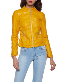 Ruched Faux Leather Moto Jacket - 1087051060700